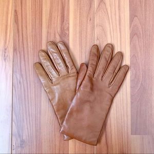 Accessories - Brown 100% Italian leather cashmere lined gloves